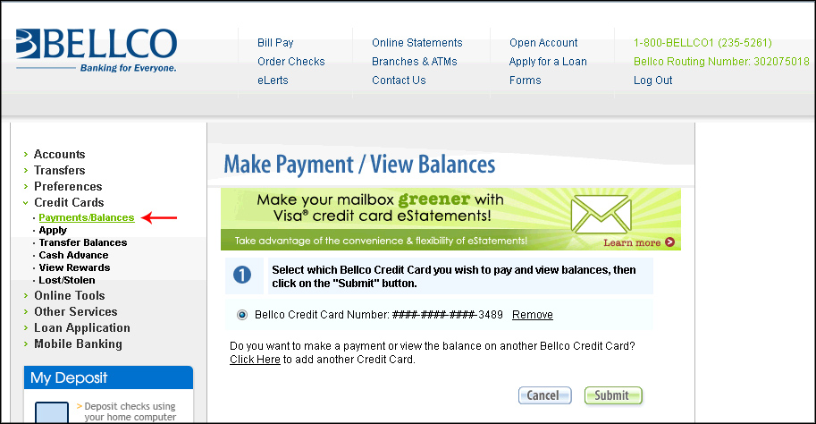 Next Click On Payments Balances Under Credit Cards In The Left Navigation If You Haven T Already Enter Your Card Number