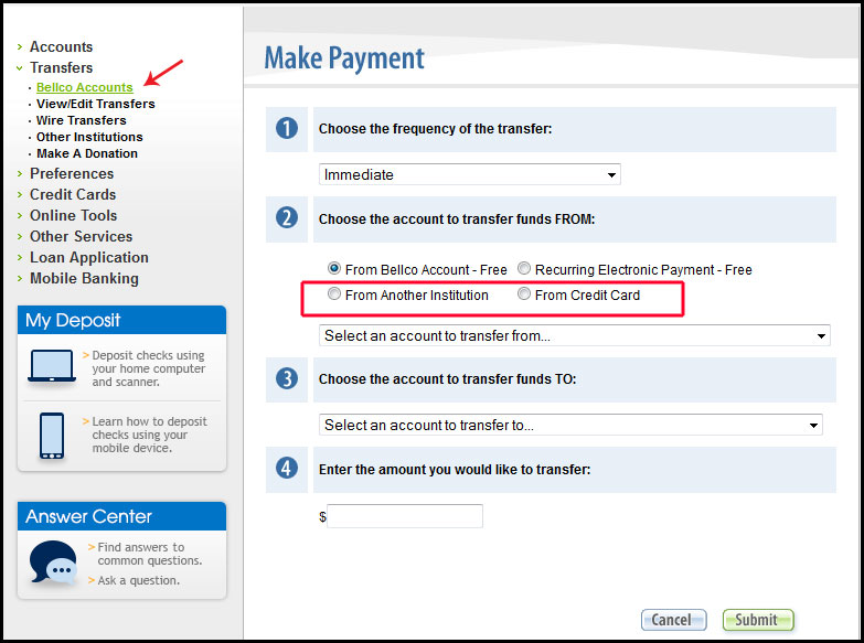 Select From Another Insution Or Credit Card Options In Step 2