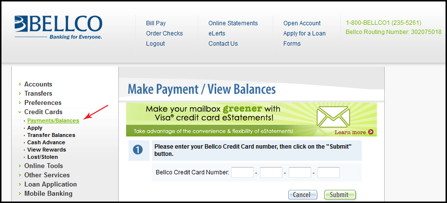 Click The Green Submit On Again To View Your Bellco Credit Card Information