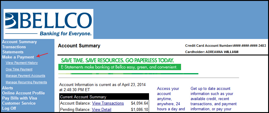 Wherever you are, online account access keeps you right where you need to be – in charge of your money – with lots of convenient features. View the most current balance and transaction information available; also your credit card account statements. Make a payment. You choose the one-time payment feature or set up recurring monthly payments.