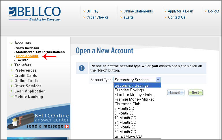 How do I open an account on Online Banking?